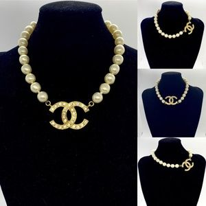 CHANEL Vintage Rare Pearl Large CC Crystal